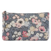MATT ZIP COSMETIC BAG WINFIELD FLOWERS SOFT CHARCOAL