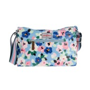 ZIPPED CROSS BODY LARGE PAINTED PANSIES GREY BLUE 斜挎包