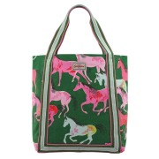 REVERSE COATED TOTE PAINTED HORSES  包   GREEN