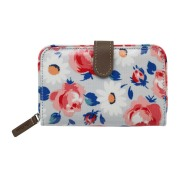FOLDED ZIP WALLET DAISIES AND ROSES BORDER COOL BLUE    钱包
